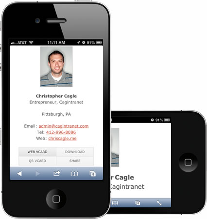 mobile formatted vcard